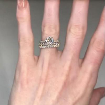 Runder Schliff Weißer Saphir Sterling Silber 3-Teilige Ringe Set