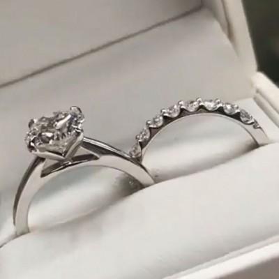 Runder Schliff Weißem Saphir 925 Sterling Silber Ring Sets
