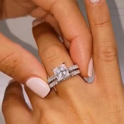 Prinzess Schliff Weißer Saphir 925 Sterling Silber Ringe Set