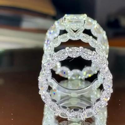 Prinzess Schliff Weißer Saphir Sterling Silber 3-Teilige Ringe Set