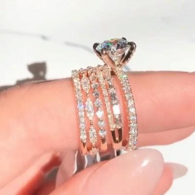 Runder Schliff Weißer Saphir 925 Sterling Silber 5-Teilige Roségold Ringe Set