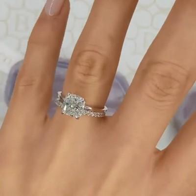 Kissenschnitt Weißer Saphir Sterling Silber Ringe Set