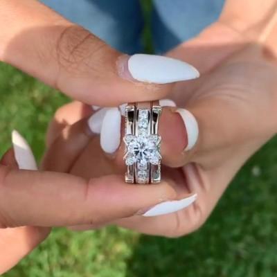 Runder Schnitt Weißer Saphir 925 Sterling Silber Art Deco Ringe Set