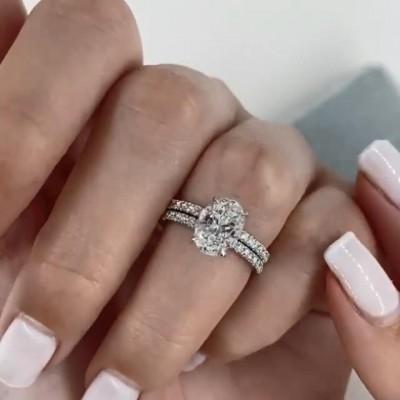 Ovale Schnitt Weißer Saphir 925 Sterling Silber Ringe Set