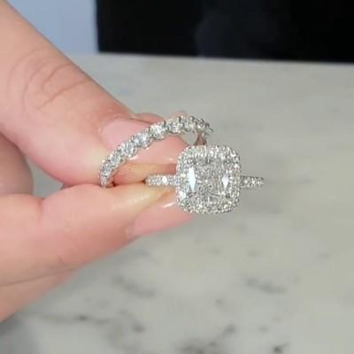 Kissenschnitt Weißer Saphir Sterling Silber Halo Ringe Set