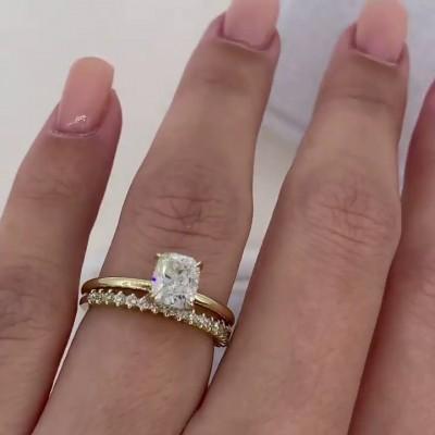 Kissenschnitt Weißer Saphir Sterling Silber Gold Ringe Set