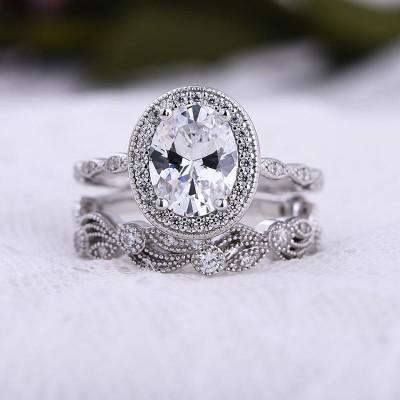 Ovale Schnitt Weißer Saphir  925 Sterling Silber Halo 2 Stück Ringe Set
