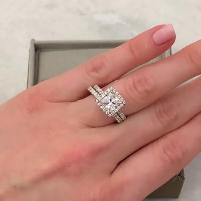 Prinzess Schliff Weißer Saphir 925 Sterling Silber Halo Ringe Set