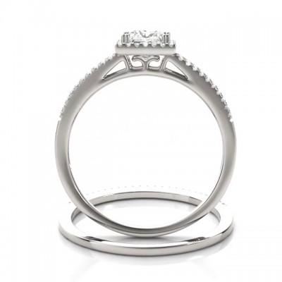 Strahlenden Schliff Weißer Saphir 925 Sterling Silber Halo Ringe Set