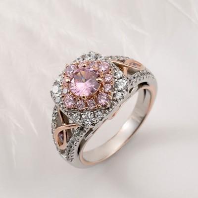 Runder Schnitt Rosa Saphir 925 Sterling Silber Roségold Halo Verlobungsringe