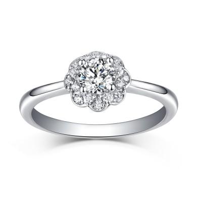 Glänzender Halo RundSchliff Weißemer Saphir 925 Sterling Silber Verlobungsringe