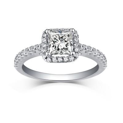 Princess Schliff 925 Sterling Silber Halo Weißem Saphir Verlobungsringe