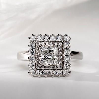Prinzess Schliff Weißer Saphir 925 Sterling Silber Doppelter Heiligenschein  Verlobungsringe