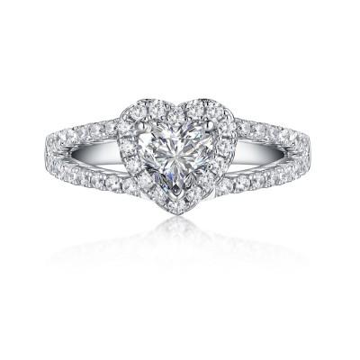 Herz 925 Sterling Silber Weißemer Saphir Halo Verlobungsringe