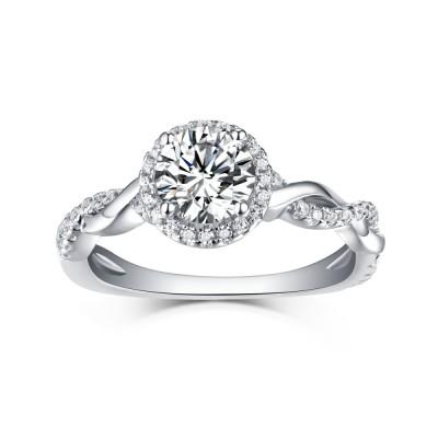 Runder Schliff 925 Sterling Silber Weißem Saphir Halo Verlobungsringe