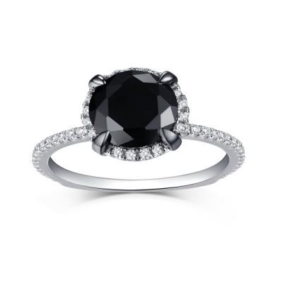 925 Sterling Silber Halo Schwarze saphir Verlobungsringe