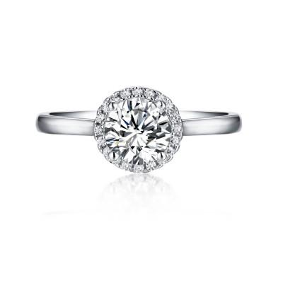 Runder Schliff aus Weißemem Saphir 925 Sterling Silber Halo Verlobungsringe