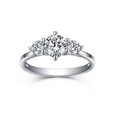 RundSchliff Drei Zirkonia Weißemer Saphir 925 Sterling Silber Verlobungsringe