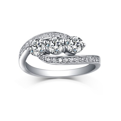 Runder Schliff 925 Sterling Silber Three Zirkonia Weißem Saphir Verlobungsringe