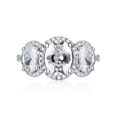 OvaleSchliff Weißemer Saphir 925 Sterling Silber Three-Zirkonia Verlobungsringe