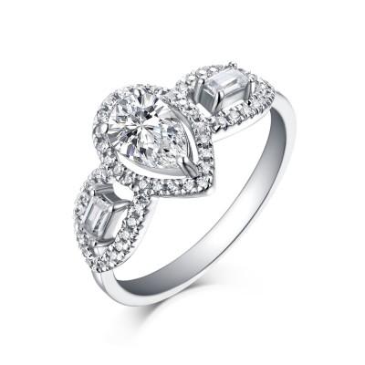 Birnen- und SmaragdSchliff Weißemer Saphir 925 Sterling Silber Verlobungsringe