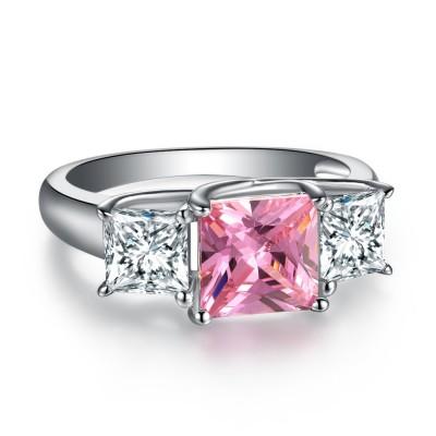 Princess Schliff 925 Sterling Silber Drei Zirkonia Rosa & Weißem Saphir Verlobungsringe