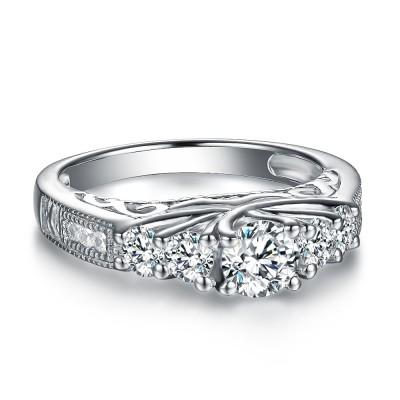 Klassischer runder Schliff Weißemer Saphir 925 Sterling Silber Verlobungsringe