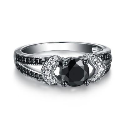 Runder Schliff 925 Sterling Silber Schwarze & Weißem Saphir Verlobungsringe