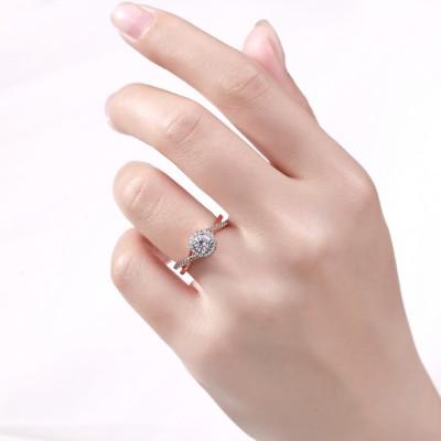 Rundschnitt Roségold 925 Sterling Silber Weißem Saphir Halo Verlobungsringe