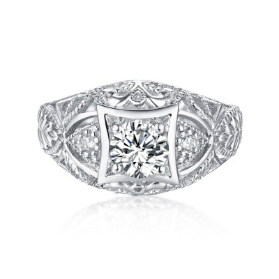 Rundschnitt S925 Sterling Silber Weißemer Saphir Art Deco Verlobungsringe