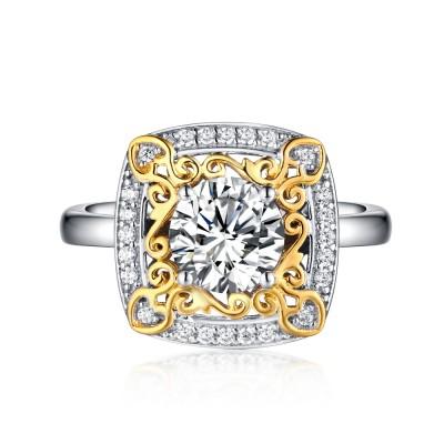 Runder Schliff Weißemer Saphir Gelbgold 925 Sterling Silber Verlobungsringe