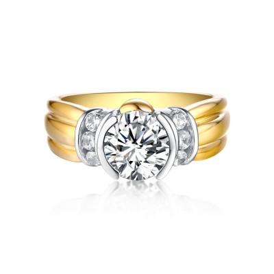 Runder Schliff Gelbgold S925 Sterling Silber Weißem Saphir Classic Verlobungsringe