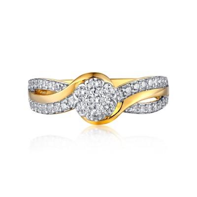 Runder Schliff Gelbgold S925 Sterling Silber Weißem Saphir Halo Verlobungsringe