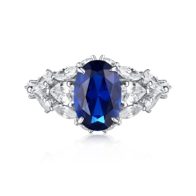 Ovale Schliff S925 Sterling Silber Blau Saphir Art Deco Verlobungsringe