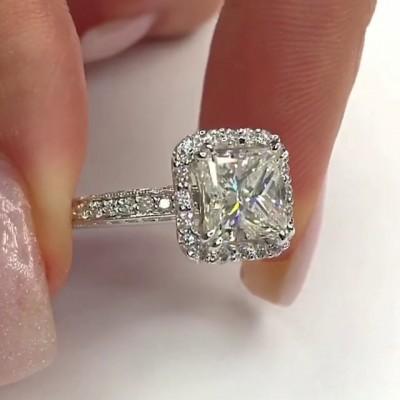 Prinzess Schliff Weißer Saphir 925 Sterling Silber Halo  Verlobungsringe