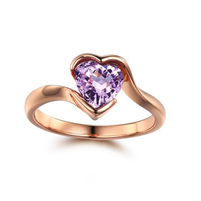 Simple Heart Cut Amethyst Damen-Verlobungsring