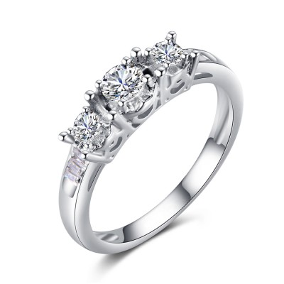 Runder Schliff Zirkonia Sterling Silber Verlobungsringe