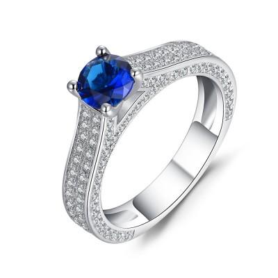Runder Schliff blauer und Weißemer Saphir Sterling Silber Verlobungsringe