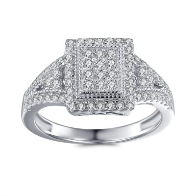 1 / 3CT Princess Schliff Zirkonia Sterling Silber Verlobungsringe