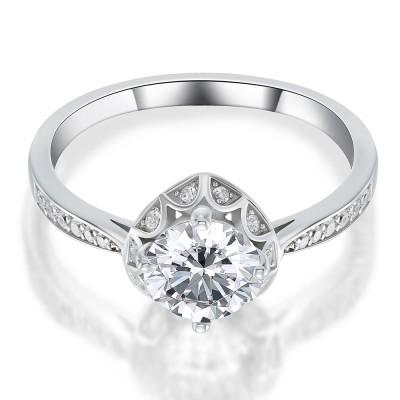 Weißemer Saphir 1.0CT 925 Sterling Silber Versprechen Ringe für Sie