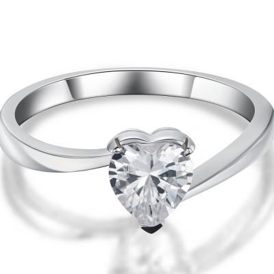 0.5CT Herz Schliff Weißemer Saphir 925 Sterling Silber Versprechen Ringe für Sie