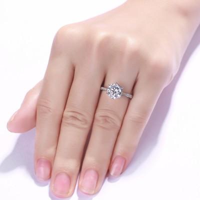 Runder Schliff aus Weißemem Saphir 0.5CT 925 Sterling Silber Versprechen Ringe For Her