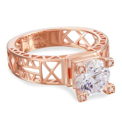 Eiffelturm Runder Schliff Weißemer Saphir 925 Sterling Silber Damenring