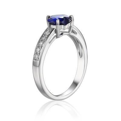 Saphir-Herz 925 Sterling Silber Damen Verlobungsring