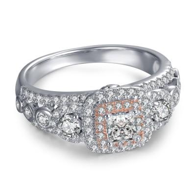 Frühere Gegenwart Zukünftiger Rundschnitt Verlobungsring aus Sterlingsilber-Frauen