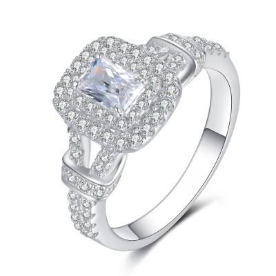 Damen Smaragd Schliff Weißem Saphir Sterling Silber Verlobungsringe