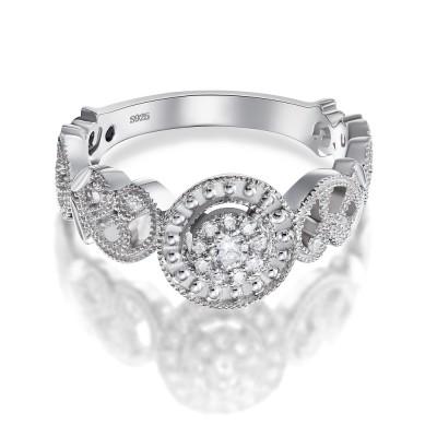 Eleganter RundSchliff aus Weißemem Saphir 925 Sterling Silber Verlobungsringe