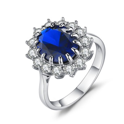 Ovale Schliff saphir 925 Sterling Silber Verlobungsringe