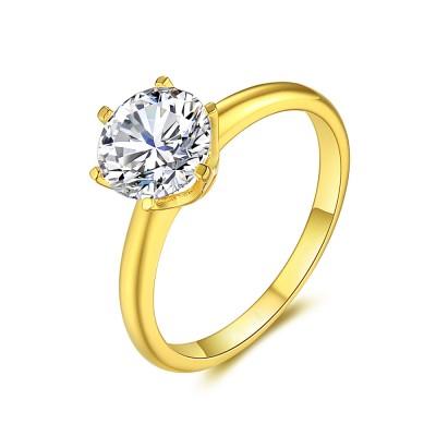 Gelbgold 925er Sterling Silber Runde Schliff Zirkonia Verlobungsringe