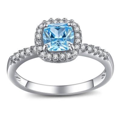 Asscher Schliff Aquamarine 925 Sterling Silber Verlobungsringe